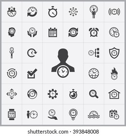 Simple time management icons set. Universal time management icon to use for web and mobile UI, set of basic time management elements