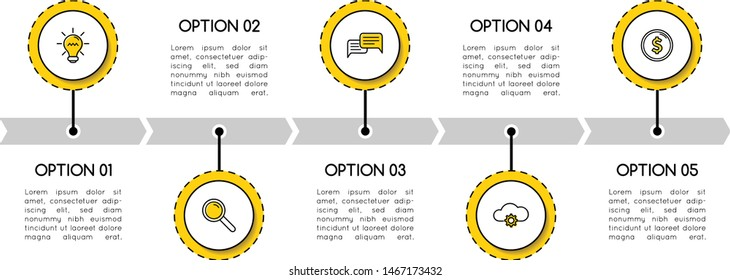Simple timeline with 5 options. Infographic. Vector