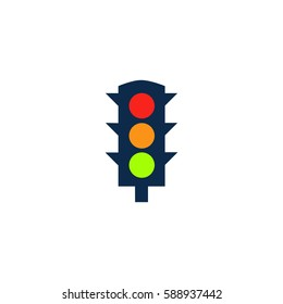 Simple Traffic light. Color symbol icon on white background. Vector illustration
