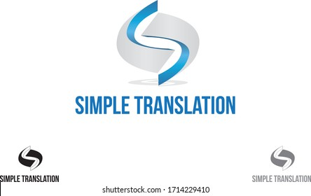 Simple translation fictional company logo vector art illustration for corporate business company and organizations.