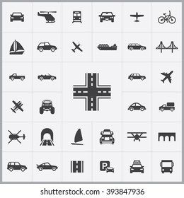 Simple transportation icons set. Universal transportation icon to use for web and mobile UI, set of basic transportation elements