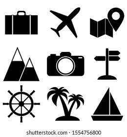 Simple travel icon set.  Tourism elements to use for web with steering wheel, plane,suitcase isolated on white background. Vector stock illustration.