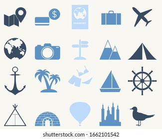 Simple travel icon set. Tourism elements to use for web with steering wheel, plane,suitcase,hot air ballon,camping, money, earth map isolated on white background. Vector stock illustration.