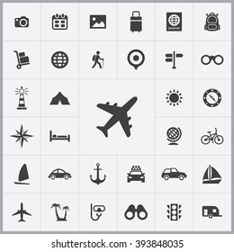 Simple travel icons set. Universal travel icons to use for web and mobile UI, set of basic UI travel elements - Shutterstock ID 393848035