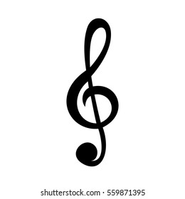 Simple treble clef vector icon. Isolated on white background. The treble clef symbol has a solid black fill.