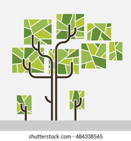 simple tree graphic. dark brown tube trunk. Three shades of green rectangle leaves stripes inside.