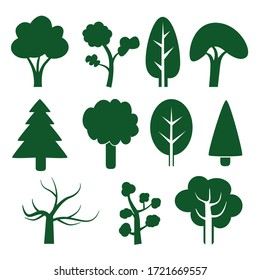 Simple Tree Vector Set - Green, Simple and Easy to Use