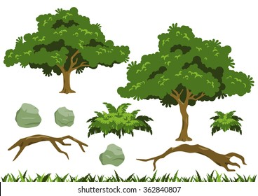 Simple tree vectors inspired by rain tree (Samanea saman). Vector large fern bush, fallen logs, and rocks also included.