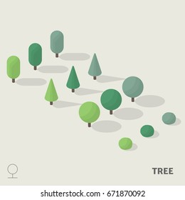 Simple trees in isometric view with shadow including with symbol.