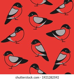 Simple trendy pattern with bullfinch. Cartoon vector illustration for prints, clothing, packaging and postcards.