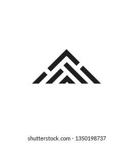 simple triangle stripes geometric mountain logo vector
