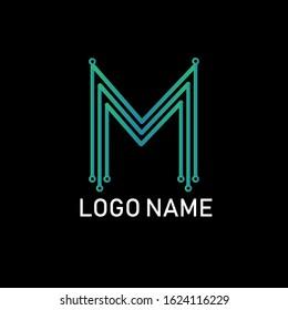 Simple Triples Letter M Light Vector Logo Design