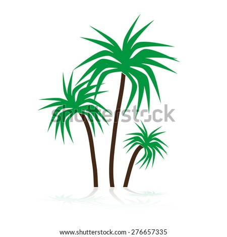 Simple Tropical Green Palm Trees Symbols Stock Vector Royalty Free