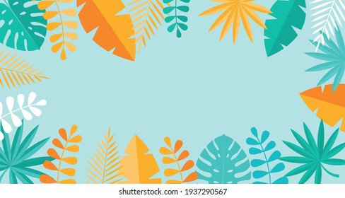Simple Tropical Palm and Motstera Leaves Natural Blue Background. Vector Illustration EPS10