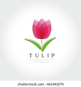 Simple Tulip bud with leaves design for logo, emblem or sign on white background Vector illustration