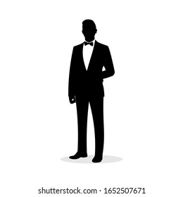 Simple tuxedo silhouette of a man. Movie or film actor. Rich man. Wedding groom costume. Award show or ceremony dress. Fancy and elegant symbol or icon. Waiter sign - Vector illustration.