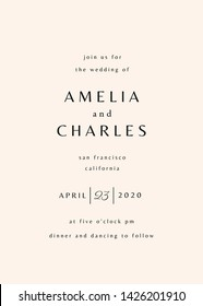 Simple typographical style wedding invitation in gray and cream. Modern and stylish 5x7 inches greeting card, save the date, postcard, flyer design.