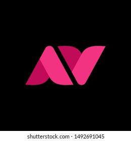 simple typography font AV love vector logo