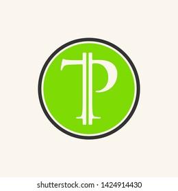 simple typography Tp bitcoin vector logo