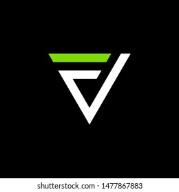 simple typography triangle fv vector logo