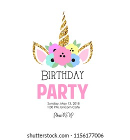 Birthday Party Invitation Unicorn Stock Illustration 1028495032