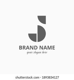 Simple Unique Letter J JJ Initial Logo Vector Template with Geometric Shape