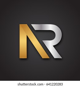 Simple Unique Metallic AR NR Logo For Business. Vector Isolated.