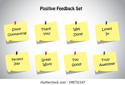 simple unique positive feedback text, notes collection set. Thank you, loved it, well done, truly amazing, perfect job, great work, too good, simply outstanding positive feedback text concept