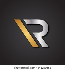 Simple Unique R Metallic Logo For Business. Vector Isolated.