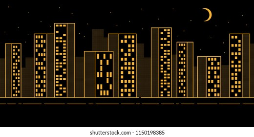 Simple urban night landscape with skyscrapers - contour pattern with dotted halftones