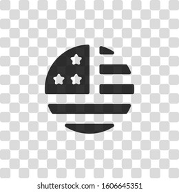 simple USA flag icon. Round shape. Black symbol on transparency grid