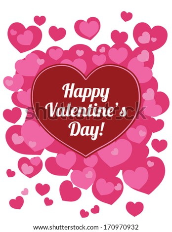 Simple Valentines Day Vector Card Hearts Stock Vector Royalty Free