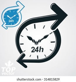 Simple vector 24 hours detailed clock monochrome illustration, additional version included. Around-the-clock dimensional stylized symbol. Twenty-four hours a day conceptual design element.