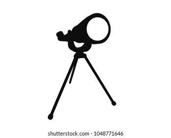Simple vector of an antique style home telescope in black and white.