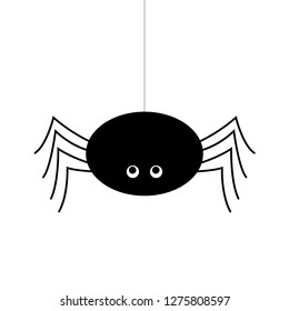 Simple vector of a black spider hanging by a thread.