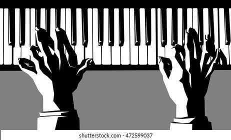 Simple vector black and white illustration of hands pianist playing the piano.
