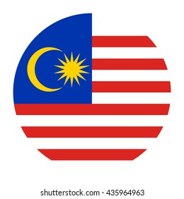 Simple vector button flag - Malaysia
