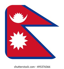 Simple vector button flag - Nepal