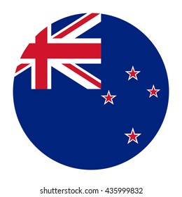 Simple vector button flag - New Zealand