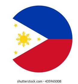 Simple vector button flag - Philippines