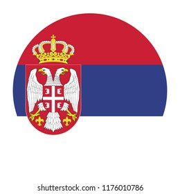 Simple vector button flag - Serbia