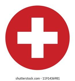 Simple vector button flag - Switzerland