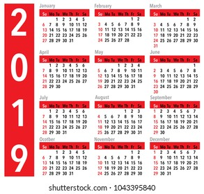 Simple vector calendar for the year 2019. In red, balck and white colors. United States time and dates.