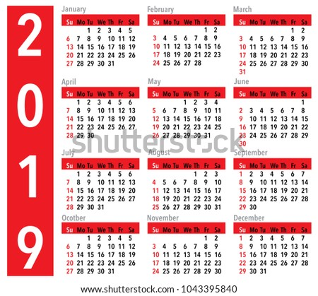 simple vector calendar for the year 2019 in red balck and white colors