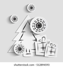 Simple vector christmas background with paper tree, gifts and snowflakes. White paper - original new year card