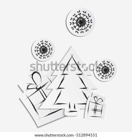Simple Vector Christmas Background Paper Tree Stock Vector Royalty