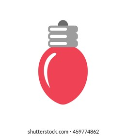 Simple vector Christmas light bulb icon isolated on white background. Flat style. Navidad, wedding or birthday party decoration. Colorful logo design.