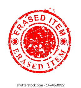 Simple Vector, Circle Red Grunge Rubber Stamp, Erased Item, Isolated on white
