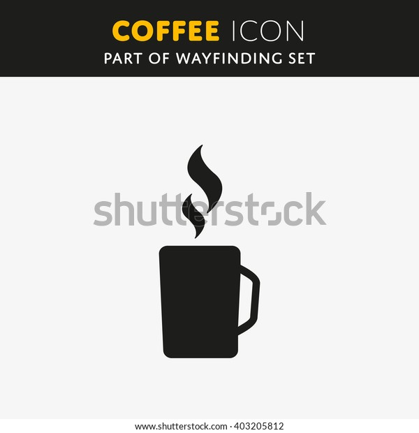Simple vector coffee icon isolated on white background.