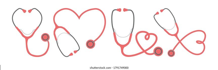 Simple vector collection of red stethoscopes forming heart shapes in different ways to appreciation card to the healthcare workers, nurses, doctors.